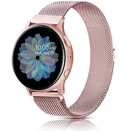 AK 20mm Cinturino Compatibile per Samsung Galaxy Watch Active/ Active 2 40mm 44mm, Cinturino in Acciaio Inossidabile per Samsung Galaxy Watch Active/Galaxy Watch Active2/Gear S2 Classic (20mm, Rosa)