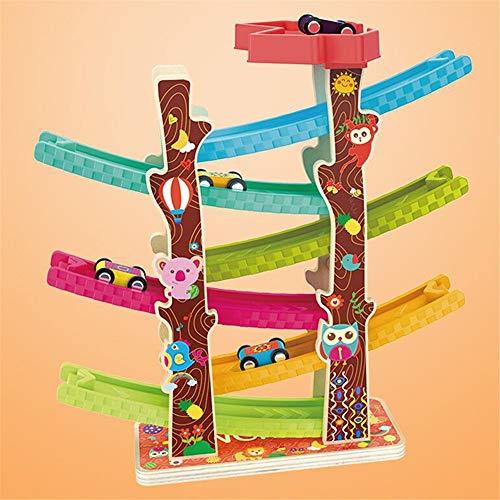 Coches, coches de carreras Juego niños Juguetes for el niño y regalos del muchacho de chicas pista de carreras de coches de rampa Racer Race Track Garaje Conjunto Coche de madera Juego de rampa