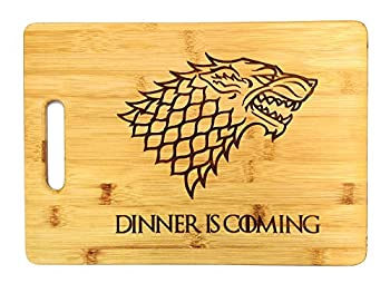 Dinner is Coming Cutting Board 13 3/4  x 9 3/4  Laser Engraved Bamboo Funny Gift Item