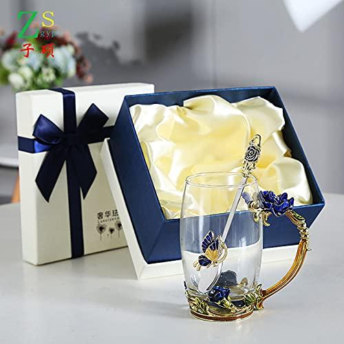 Sxiocta Taza de vidrio esmaltado, 350 ml Flor de mariposa Tazas de café de vidrio transparente sin plomo Juego de tazas de té con cuchara, posavasos, paño de limpieza y caja de regalo