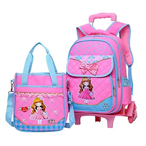 2 pieces/set trolley backpack girls wheels school bag kids travel luggage suitcase on wheels kids roll book bag, Pink (Pink) - RS190812