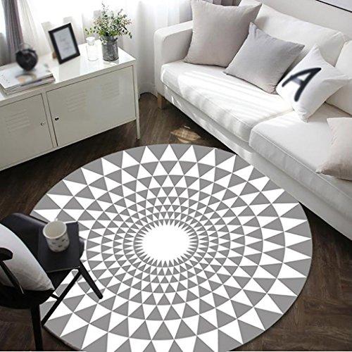 Ottomans Creative Light- Mode Tapis Rond en Noir et Blanc Salon Table Basse Grand Tapis (Couleur : Gris, Taille : Diameter 120cm)