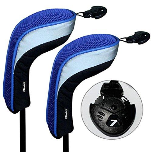 Andux 2 Piezas Funda de Palo de Golf híbridos con Intercambiable No. Etiqueta MT/hy04 (Negro/Azul)