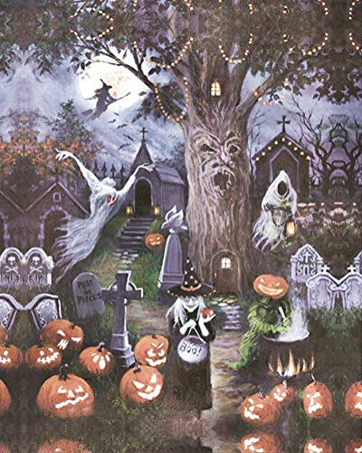 Diamond Painting by Number Kit, LPRTALK 5D DIY Diamond Painting Halloween Full Round Drill Spooky World Embroidery for Wall Decoration 12X16 inches (Full Drill)