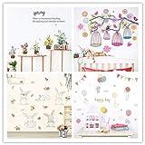 Planta de jardín flor conejo jaula de pájaros pegatinas de pared para habitación de niños sala de estar dormitorio ventana tatuajes de pared mural art poster