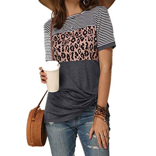 De T Shirts Leopard Tops Patchworkshort Mouwen Blouses Casual Color Block Summer Tees,Gray,S