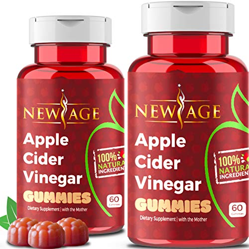 (2-Pack) Apple Cider Vinegar Gummies by New Age - Amazing Taste with Raw, Organic, Unfiltered Mother, B9, B12, Beetroot, Pomegranate. Vegan & Non-GMO Gummy. Made in USA.