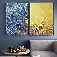 抽象的な青と黄色の円パターンキャンバス絵画モダンなポスターとプリント壁アート写真リビングルームの家の装飾65x95cm-2pcsフレームレス