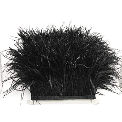 Adornos de plumas de avestruz con cinta de satén cinta vestido costura artesanía decoración 1m (negro)