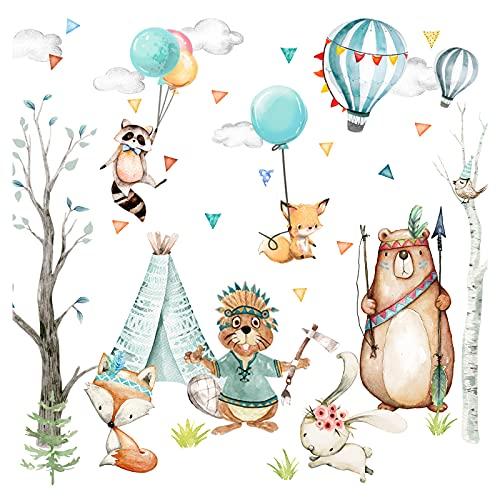Little Deco Wandtattoo Wandsticker Kinderzimmer Waldtiere Tiere Heißluftballon Spielzimmer Baby Aufkleber Wanddeko Junge Mädchen Kindergarten DL655 M - 83 x 50 cm (BxH)