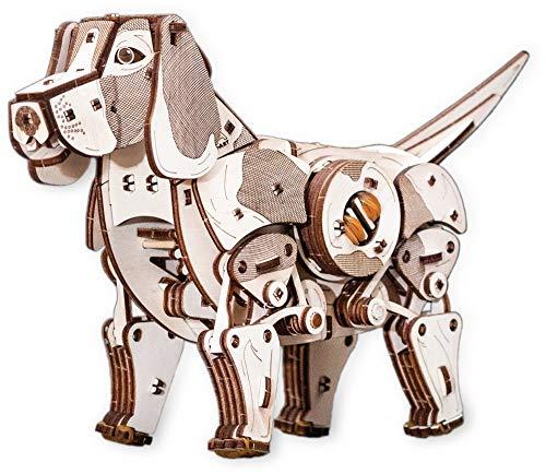 EWA Eco-Wood-Art PUPPY EWA EcoWoodArt 3D Holzpuzzle für Jugendliche und Erwachsene-Mechanisches Welpenmodell für Haustiere-DIY-Kit, Selbstmontage, kein Kleber erforderlich, Natur