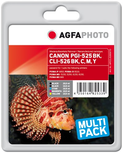 Agfa APCCLI526SETD PGI-525 BK CLI-526 Bonuspack Druckerpatrone für Canon, schwarz/gelb/magenta/cyan, Multipack