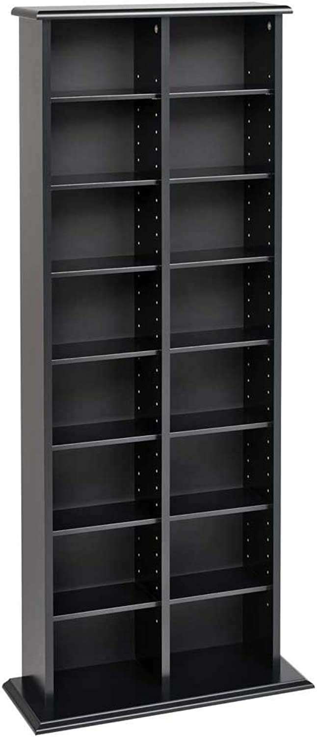 Prepac BMA-0320 Double Multimedia Storage Tower, Black