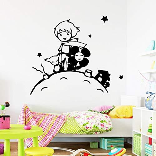 Geiqianjiumai Wunderschöne kleine Prinz Wand Art Deco Aufkleber Wohnzimmer Dekoration Kinderzimmer Dekoration schwarz M 30cm X 35cm