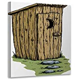 C COABALLA A Cartoon Outhouse,Wall Art Decor Contemporary for Bedroom Kitchen Artwork 8x8inch