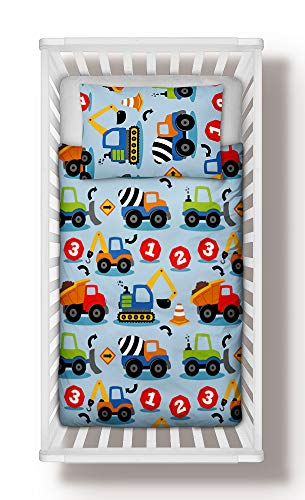 Construction Trucks Boys Nursery Bedding Set Duvet Cover + Pillowcase to fit Cot 100% Cotton (90x120 cm)