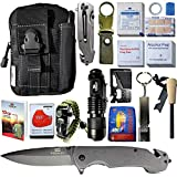 42 in 1 SURVIVAL MOLLE POUCH KIT, PREMIUM TACTICAL POCKET KNIFE, FIRST AID KIT, EDC MULTI-TOOL USE FOR CAMPING, HIKING, BIKING etc. Great gift for love ones men women holiday birthday presents (black)