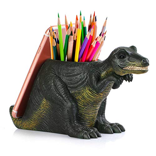 Pen Pencil Holder with Phone Stand Coolbros Resin Shaped Pen Container Cell Phone Stand Carving Brush Scissor Holder Desk Organizer Decoration for Office Desk Home Decorative Dinosaur