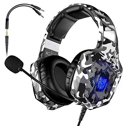 VersionTech Casque Gaming pour PS4 PS5 Xbox One, Casque PC avec Microphone de Suppression du Bruit Compatible avec Les Jeux Nintendo Switch Ordinateur Portable Mac (Camouflage)