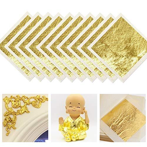 FUNVCE 24 Karat Blattgold Goldblatt 4.33 * 4.33cm Goldfolie zum Basteln Lebensmittel Kuchen Backen Torten Dekorfolie Kunsthandwerk