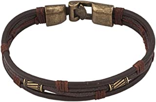CLY Jewelry Brown Leather Braided Multilayer Wrap Wristband Vintage Bracelet for Men Women