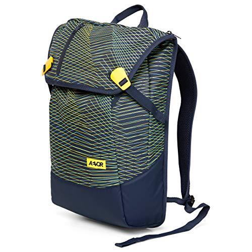 AEVOR Daypack - erweiterbarer Rucksack, ergonomisch, Laptopfach, wasserabweisend - Fineline Twin Yellow - Blau