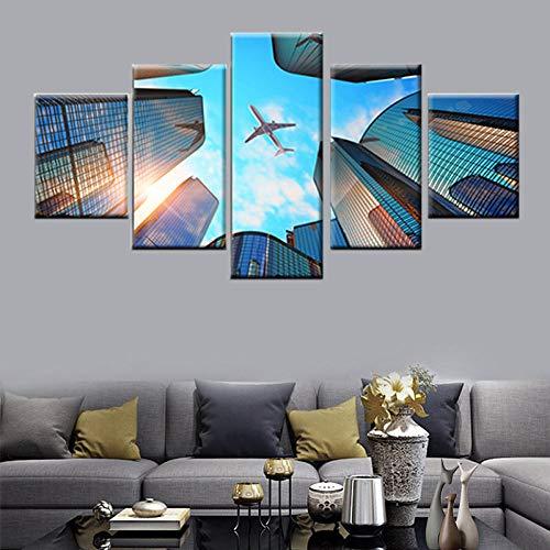 HKDGHTHJ Mural de pintura decorativa para oficina 200x100cm Moderno arquitectura cielo avión Cuadros de lienzo Decoración para el hogar Modular HD imprime 5 piezas Póster Marco de arte de pared de coc