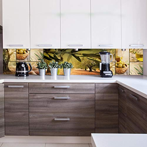 wandmotiv24 Küchenrückwand Oliven Baum Plantage Grün Hände Ernte 260 x 50cm (B x H) - Acrylglas 3mm Nischenrückwand, Spritzschutz, Fliesenspiegel-Ersatz, Deko Küche M1207