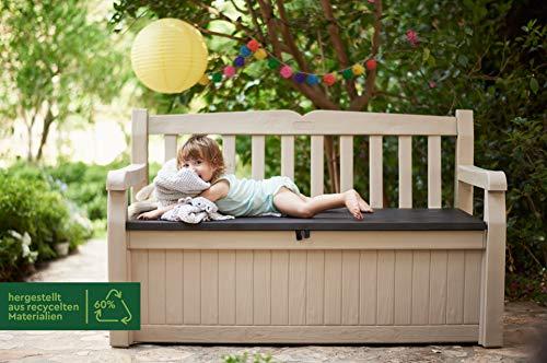 Keter Gartenbank 2-Sitzer, Truhenbank Garten Eden, Beige Gartenban mit Truhe, regenfest, 265L - 3
