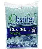 Cleanet: esponja jabonosa desechable napa 12x20cm 90grs. Higiene corporal con gel dermatológico pH...