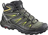Salomon Men's X Ultra 3 MID GTX Hiking Boots, Castor Gray/Black/Green Sulphur, 10.5 Wide