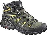 Salomon Men's X Ultra 3 MID GTX Hiking Boots, Castor Gray/Black/Green Sulphur, 13