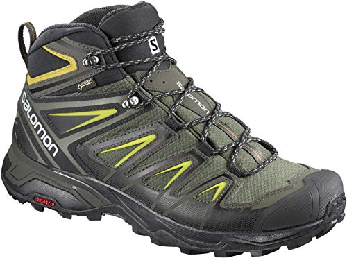 Salomon Men's X Ultra 3 Mid GTX Hiking Boots, Castor Gray/Black/Green Sulphur, 8.5