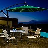 Ombrellone da Giardino con LED Solare Ombrellone Alluminio da Terrazzo Inclinazione Ombrellone a Manovelle da Esterno Rettangolare Verde,Diametro: 2.7 Metri Masthome