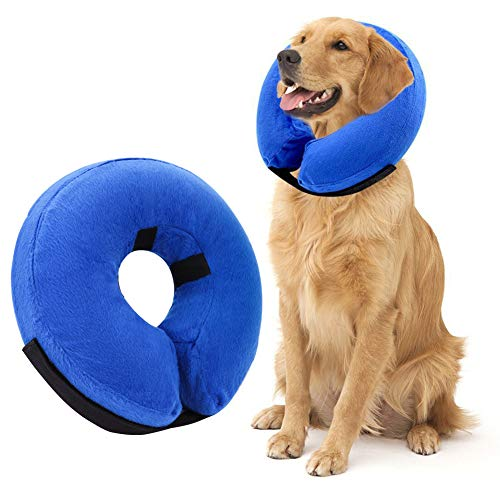 AhlsenL Inflatable Dog Cone Collar, Protective Soft Pet Recovery Collar Prevent Dogs Cats from Biting & Scratching (L)