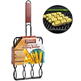 Camerons Products Corn Grilling Basket - Non-Stick Corn Griller with 9' Rosewood Handle - Cooks 4 Ears of Corn