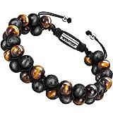 murtoo Homme Bracelet Oeil de Tigre Huile Essentielle Diffuseur Bracelet Femme Bracelet Couple Réglable (Vine)