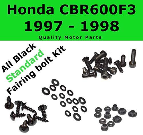 Black Fairing Bolt Kit body screws fasteners Compatible with Honda CBR 600 F3 1997-1998