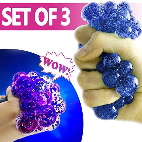 Set-of-3 Led Anti-Stress, Squishy Light-up Ball