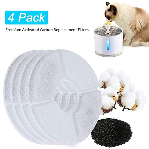 BEACON PET 4PCS Replacement Filters for Cat Water Fountain Stainless Steel, LED Indicator 81oz/2.4L Automatic Pet Fountain Dog Water Dispenser for Cats, Dogs, Multiple Pets