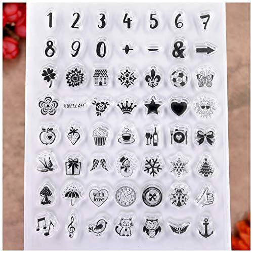 KWELLAM Lebens-Symbol, Zahlen, Blumen, Vogel, Katze, Schneeflocke, Baum, transparente Stempel für Kartenherstellung, Dekoration und Bastelarbeiten