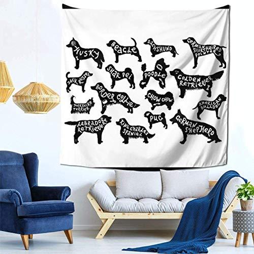 Lsjuee 16 cani disegnati a Mano arazzo appeso a parete decorazioni per la casa Fan Art per Camera da letto soggiorno Dormitorio