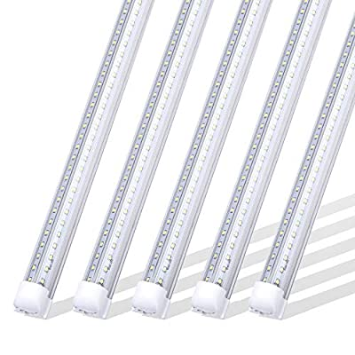 SOMLIGHT 8FT Linkable Shop Light, 72W LED Tube Lights Fixture, 270 Degree Angle, V Shaped Double Row, 6000K Cold White, Clear Cover, Fluorescent Light Bulbs Replacement (25Pack),Ship from USA