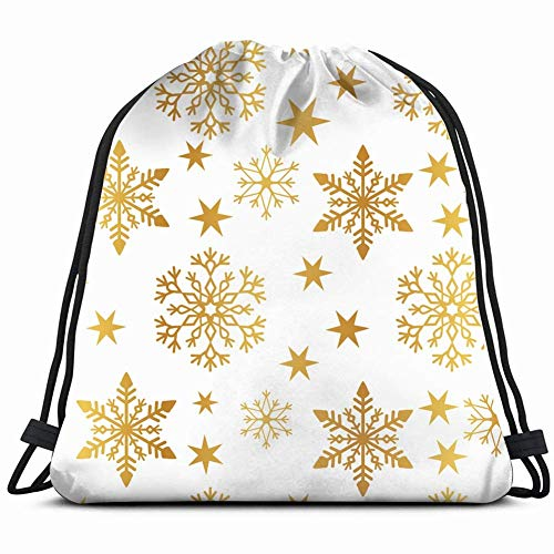 DHNKW Golden Snowflake Simple Seamless Pattern Abstract Backgrounds Textures Christmas Holidays Drawstring Backpack Bag Men & Women Sport Gym Bag