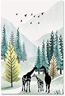 RUIMA Modern Simple Poster Nordic Nature Watercolor Landscape Canvas Painting Animals Wall Art Picture For Living Room Hom...