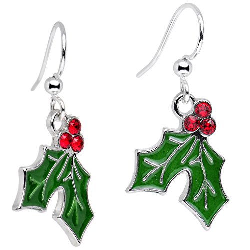 Handcrafted Silver Plated Green Holiday Holly Dangle Earrings Created with Swarovski Crystals 1'