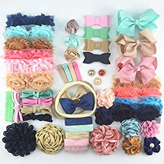 BERON 51 Pcs Chiffon Flower and Handmade DIY Kit - NonWoven Felt Cloth Party Supply for DIY Hair Bow Maker - Mini Headband Kit Makes 25-50 Headband Hair Accessories