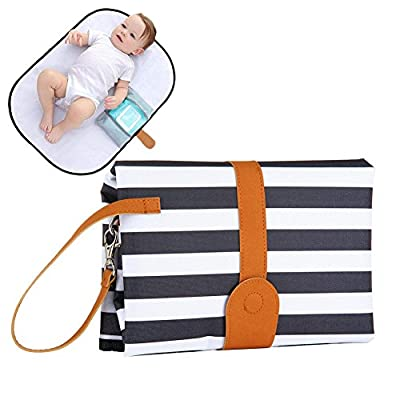 """Portable Changing Pad for Baby Travel and Outdoor Activities Leak Proof Wipe Clean Baby Diaper Changing Mat Station, Compact Wristlet Clutch Holds,Full Body Large Size 28""""19"""" (Stripe)"""