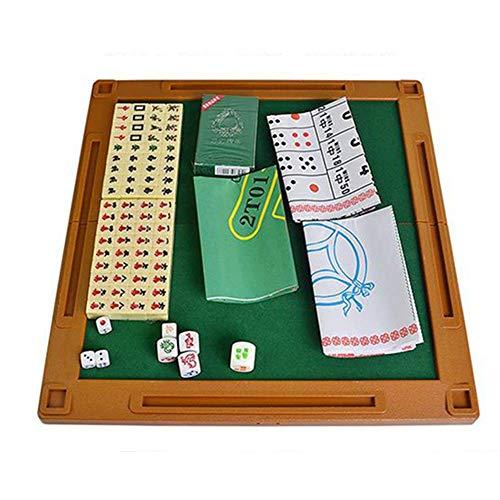 Mahjong Game, 144 Tile Mahjong Game Set Mini Mahjong Portátil con Juego Plegable Juego De Mesa De Mahjong Chino para Mujeres Y Hombres Fácil De Viajar Y Jugar (Color, Tamaño: 18X13X8Mm)