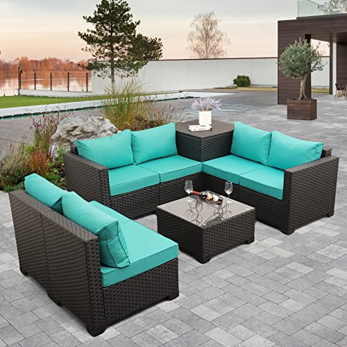 Outdoor PE Rattan Furniture Set -6 Piece Patio Wicker Sectional Conversation LoveSeat Couch Sofa Set with Storage Table Box, Turquoise Cushion